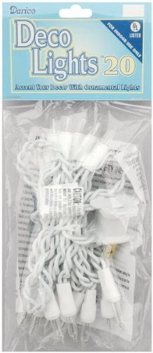 20-Clear Bulb Light Set with White Cord - Indoor Use Only