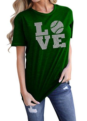 (Meilidress Womens Love Baseball Tshirts Funny Sporting Lover T Shirt Tops )