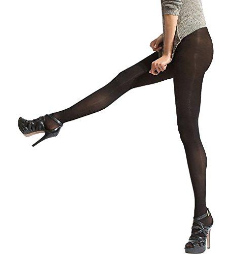 HUE Black Opaque Pantyhose with Control Top ()