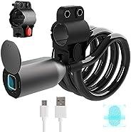 Fingerprint Bike Lock Cable, Keyless Bike Lock Chain Heavy Duty Anti-Theft Bicycle Lock Waterproof Smart Digit