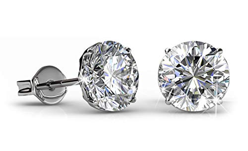- Jade Marie BOLD Silver Round Brilliant Cut Solitaire Stud Earrings, 18k White Gold Plated Stud Earring Set with 1ct Swarovski Crystals, Hypoallergenic Earrings