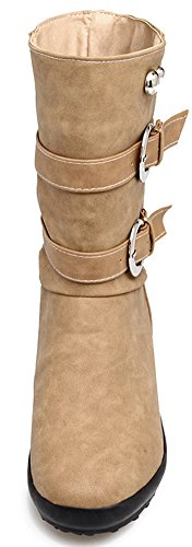 Mofri Women's Trendy Buckle Belt Studded Rivet Round Toe Invisible Wedge Low Heel Pull on Slouchy Mid Calf Boots