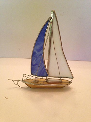 Stained Glass Sailboat (Standing Sail Boat (Tan) 3-D Stained Glass Art- Style B)