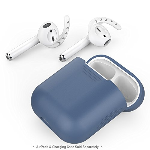 Premium Silicone Skin Case Cover - AhaStyle Airpods Case with Hooks, Premium Silicone Protective Cover, Shock-Proof Accessories for Apple AirPods Charging Case (Navy Blue Case, White Hooks)