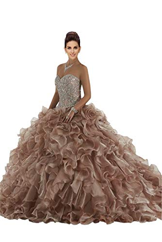 Fannydress Expensive Rufflers Sweet 16 Dresses Ball Gown Quincenaera Dresses Beading Crystal Sequins Prom Dress Chocolate 18plus -