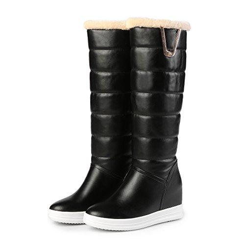 DYF Las mujeres zapato de cabeza redonda de arranque de color sólido de fondo plano de gran tamaño metal caliente Black