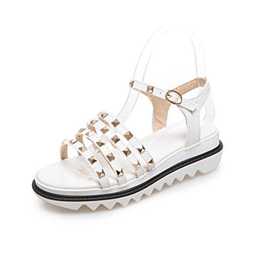 AIKAKA Zapatos de Mujer Spring Summer Student Flat Platform Sandals White
