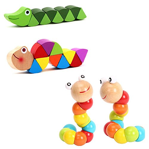Worm Puzzle Wooden Toy (Multicolor) - 1