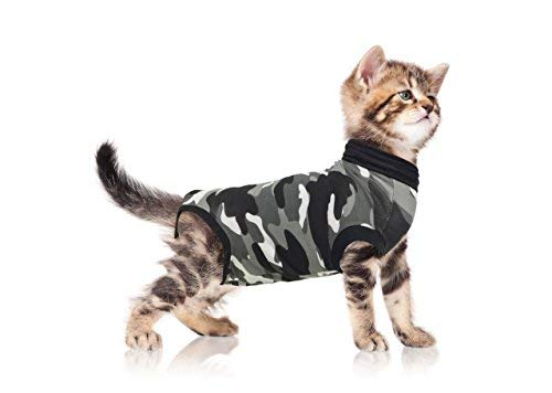 Suitical Recovery Suit for Cats Small in Black Camo. Professional alternative to the Cone of Shame. Suitable for wound and Bandage protection, Hotspots, Skin Diseases. Recommended and used by thousands of pet owners and vets worldwide. 30-0120