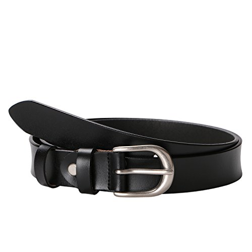 MoAnBee Women Leather Belt 28mm with Classic Polished Buckle, Solid Color Cowhide Leather Belt for Jeans by MoAnBee