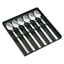 Jean Dubost Créations 96045 Soda Spoons Set of 6 in a Black Kraft Box Hammered Stainless Steel Castel