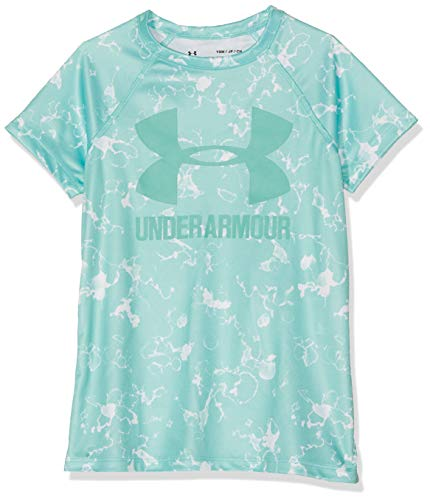 Under Armour Girls' Big Logo Tee novelty short sleeve, Neo Turquoise//Azure Teal, Youth Large