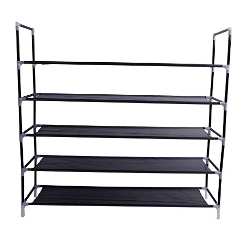 Zyan Simple Assembly 5 Tiers Non-Woven Fabric Shoe Rack with Handle Black