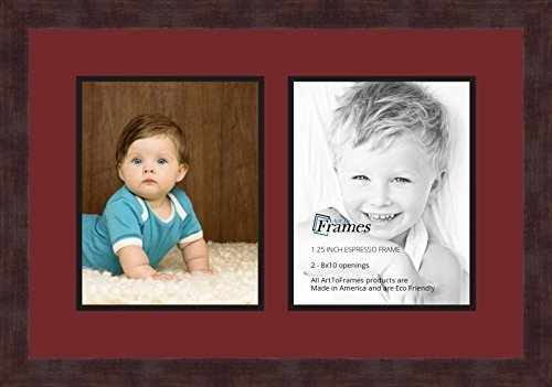 Art to Frames Double-Multimat-36-594/89-FRBW26061 Collage Frame Photo Mat Double Mat with 2-8x10 Openings and Espresso (Opening Espresso Frame)