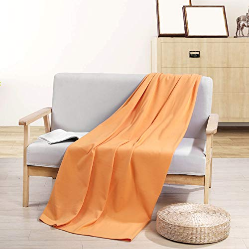 PuTian Australian Ultrasoft Merino Wool Blanket Silky Throw for Summer Lightweight, Cream Yellow, 80by48 inches (Throw Wool Cream)