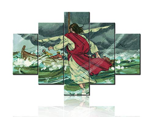 - Religious Artwork for Bedroom Miracles of Jesus Pictures 5 Pcs/Multi Panel Canvas Jesus Christ Walk on Water Paintings Gospel of Matthew, Peter Wall Art Home Decor Framed Ready to Hang(60''Wx40''H)
