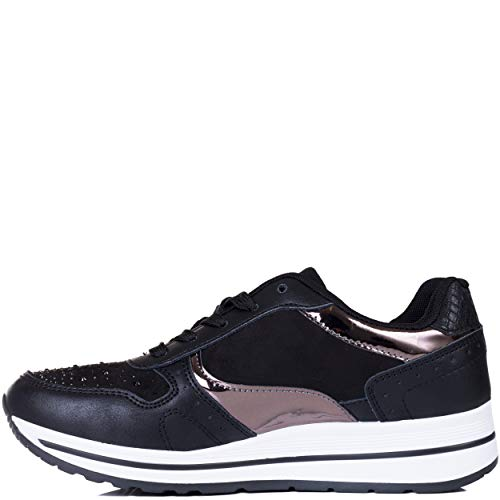 Spylovebuy Femmes Similicuir Lacet Sneakers Cassowary Basses Plates Baskets Noir SFpSBO