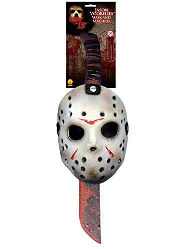 Jason Voorhees Mask & Machete Set White/Red -