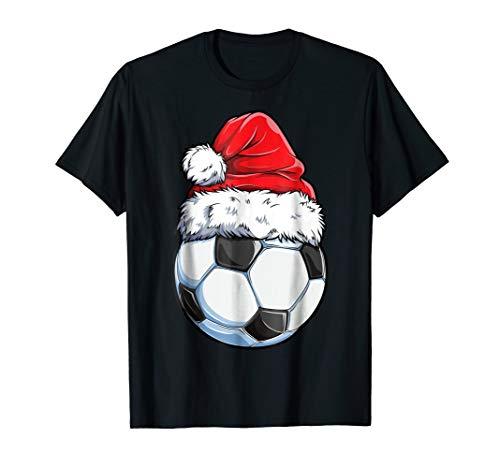 Santa Soccer Ball T shirt Christmas Boys Kids