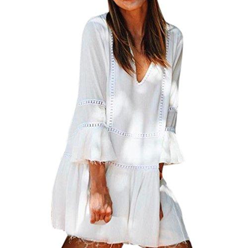 Robe Automne Manadlian Femmes Casual Manches 2017 Blanc Robes Robes de t Vtements Longues Plage Femme qqZxnOAEpw