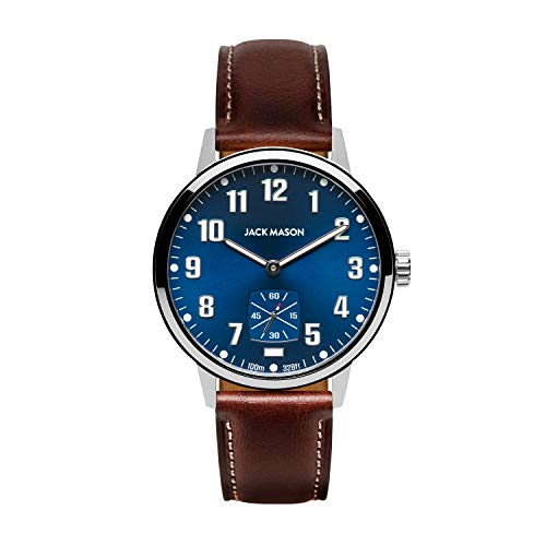 Jack Mason Field 3-Hand Stainless Steel Navy Dial Brown Leather Strap JM-F111-003