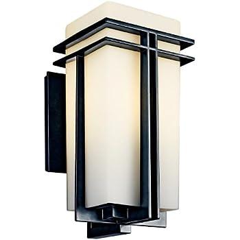 kichler 49202bkfl tremillo aluminum outdoor wall sconce light 18 watts fluorescent black