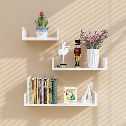 aimu Set of 3 U Shaped Floating Wall Shelves Home Storage Shelves CD DVD Toys Display Wall Shelf,White