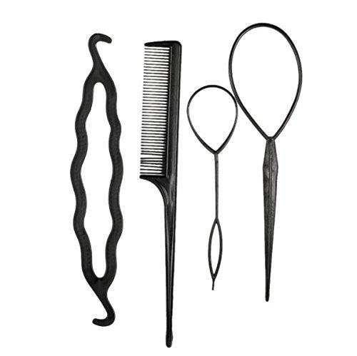 [4Pcs Hair Twist Styling Clip Stick Pin Bun Braid Maker Tool Hair Band Headband Hair Accessories DIY Hair Styling Tools] (Diy Pop Star Costume)