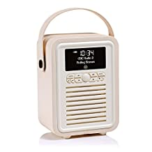 VQ Retro Mini HD & FM Radio with Bluetooth Speaker - Cream