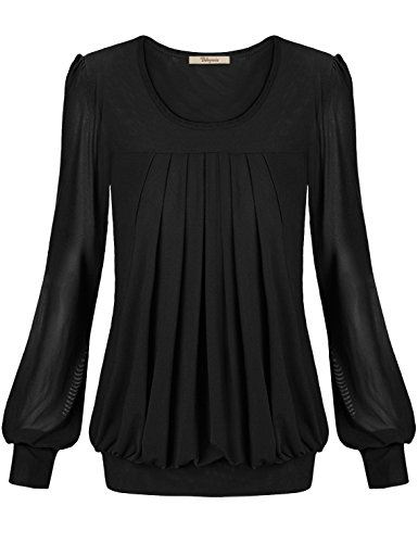 [Blouse, Bebonnie Womens Ladies Basic Jersey Fashion Peasant Banded Blouse T Shirts Tunic Top XL Black] (Peasant Outfit)