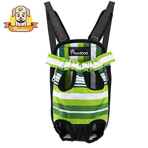 Carrier Front Legs Out (PAWABOO Pet Carrier Backpack, Adjustable Pet Front Cat Dog Carrier Backpack Travel Bag, Legs Out, Easy-Fit for Traveling Hiking Camping, Medium Size, Green and White Stripes)