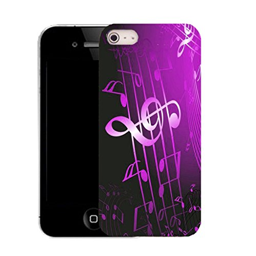 Mobile Case Mate IPhone 5S clip on Silicone Coque couverture case cover Pare-chocs + STYLET - purple musical symbol pattern (SILICON)