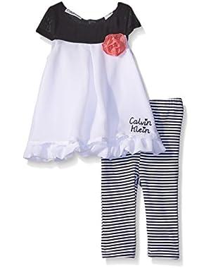 Baby Girls' Chiffon Overlay White Tunic and Printed Jersey Leggings