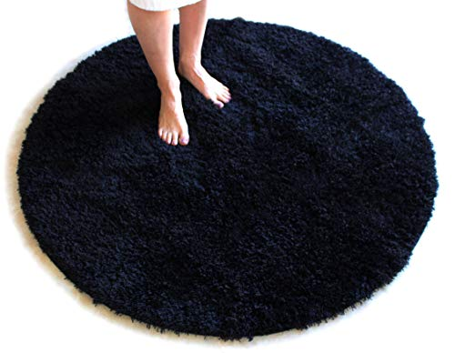 Black Bath Mat Round Rug Shag Non Slip Ultra Plush Microfiber Highly Water Absorbent Durable and Washable for Bathroom 4 Feet Round