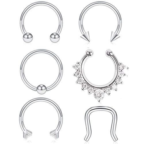 bb60c4e80 VCMART 6PCS 16G 316L Stainless Steel Septum Hoop Nose Ring Horseshoe Rings  Cartilage Daith Tragus Clicker