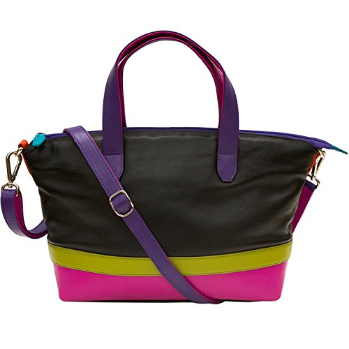 ili Leather Zippered Satchel Handbag (Black Brights)
