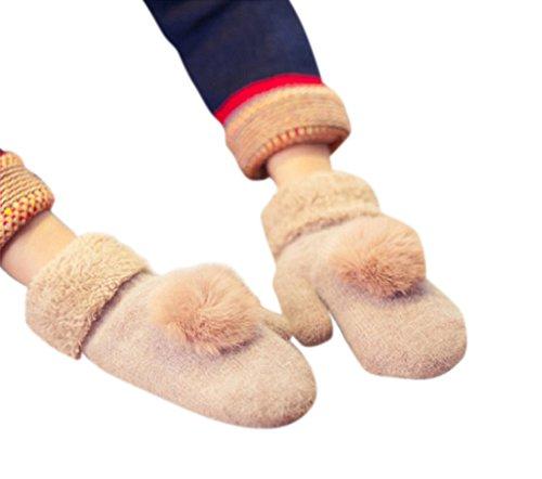 百年美容師スプリットformanism もこもこ あったか ボア 起毛 ウール カシミヤ 手袋 ボンボン レディース 全9色 カラ- (ベージュ)