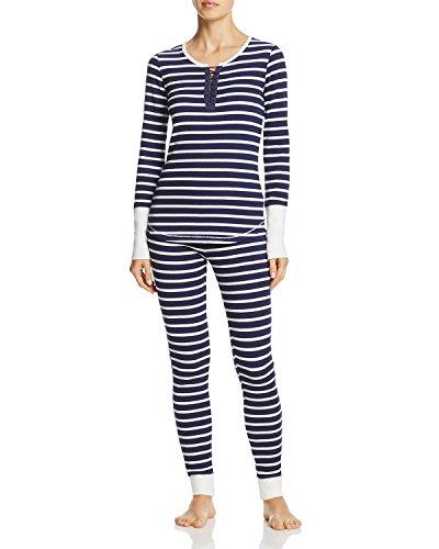 Printed Thermal Henley - Splendid Women's Printed Thermal Henley & Legging Pajama Set (Navy/White Stripe, Large)