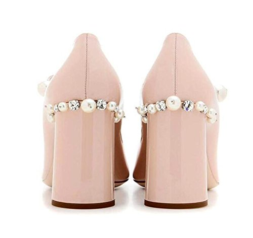 genuina mujer Corte Perla Tamaño piel 36 Mary Zapatillas Heel Dulce a40 de Zapatos Jane Block xtwXg55