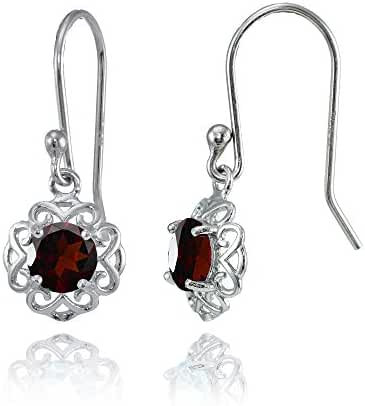 Sterling Silver or Yellow Gold Flashed Gemstone Round Filigree Dangle Earrings