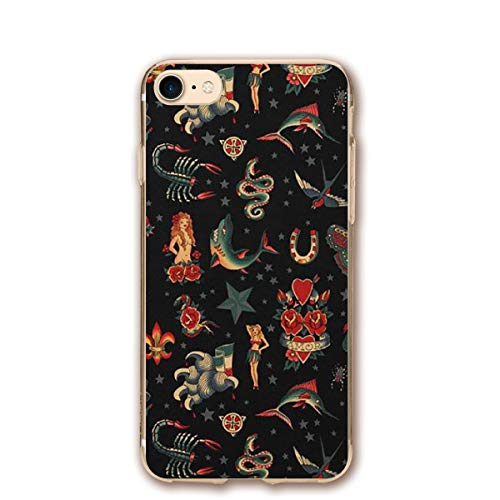 Phone Case Compatible with iPhone 7 iPhone 8 Skull Tattoo Lightweight Anti-Fingerprint Slim Soft Covers]()