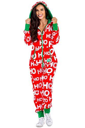Women's Christmas Onesie Pajamas - Red HoHoHo Santa Adult Jumpsuit: Small