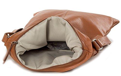 Bolso - La bolsa de mensajero hecha de cuero italiano suave (30 x 32 x 2 cm) Brown (coñac)