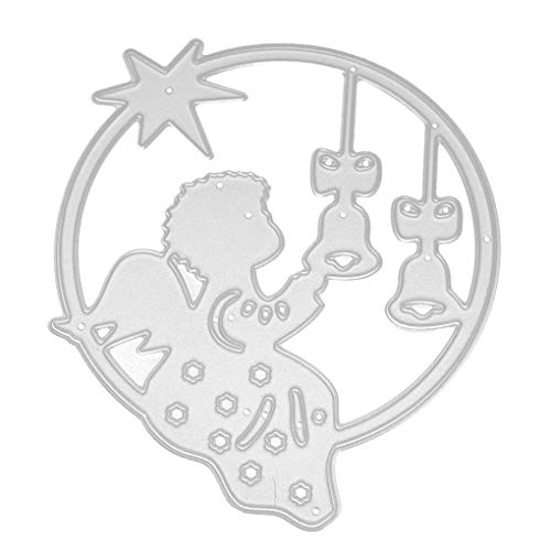 Cutting Dies Christmas, Kids Round Angel Jingle Bell Star Metal Cutting Dies Card Making Scrapbooking Stencils Album Paper Card Craft Embossing DIY Decorative Background