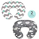 Stretchy Nursing Pillow Covers-2 Pack Nursing Pillow Slipcovers for Breastfeeding Moms,Ultra Soft Snug Fits On Infant Nursing Pillow,Clouds Whales
