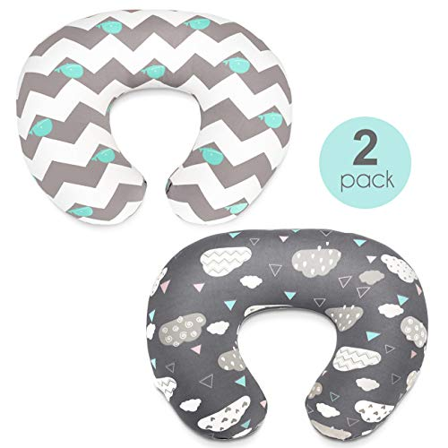 Stretchy Nursing Pillow Covers-2 Pack Nursing Pillow Slipcovers for Breastfeeding Moms,Ultra Soft Snug Fits On Infant Nursing Pillow,Clouds Whales]()
