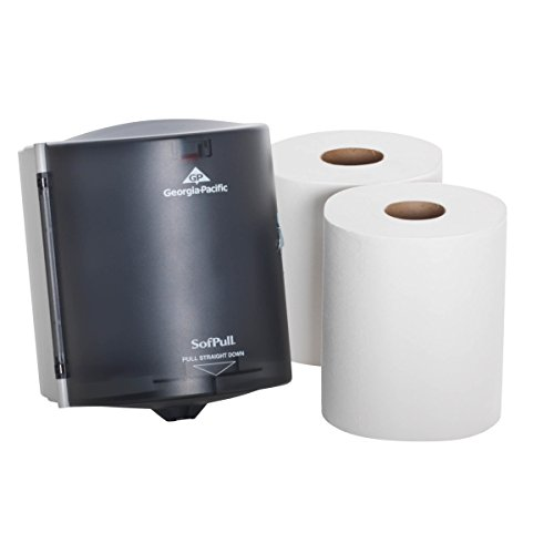 Georgia Paper Towel Holder - SofPull Centerpull Regular Capacity Paper Towel Dispenser Trial Kit by GP PRO, 58205, 1 Dispenser (58204) & 2 Centerpull Paper Towel Rolls, (28124)
