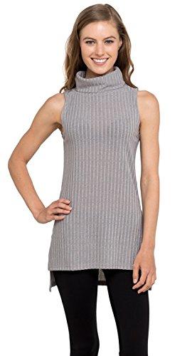 Womens Turtleneck Tunic Tank Top - Sleeveless Ribbed Sweater, Velucci (Heather S)