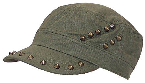 D&Y Womens Cadet Hat W/Spike Studs On Hat & Visor Elastafit (One Size) - (Studs Military Cap)