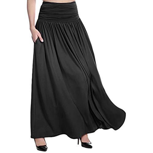 Women High Waist Skirt nikunLONG Solid Maxi Skirt Ladies Casual Swing Gypsy Long Skirt Plus Size Summer Beach Dress Black ()